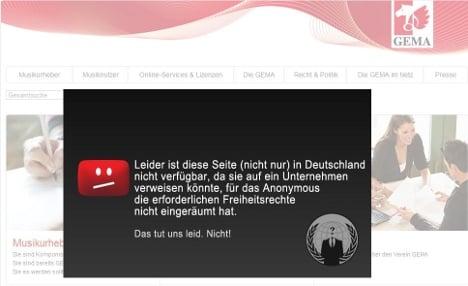 Website of music copyright watchdog GEMA hacked