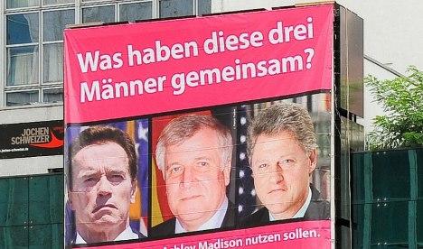 Infidelity agency ad invokes adulterers Schwarzenegger, Clinton, Seehofer