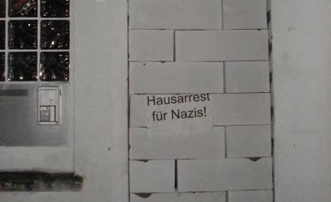 Anti-fascists brick up Neo-Nazi politician's front door