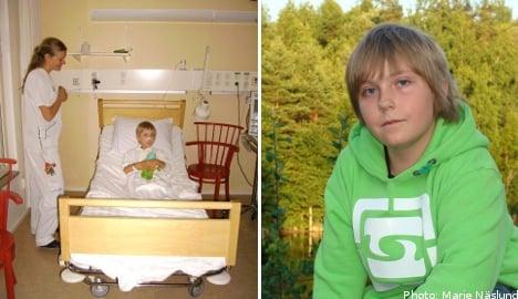 Kevin, 11, plays Santa to sick Swedish kids