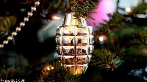Outrage over hand grenade Christmas balls
