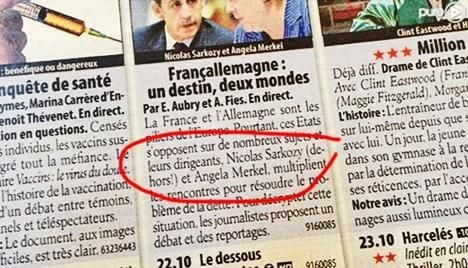 TV mag tells Sarkozy to 'get out'