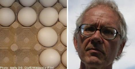 Lars Vilks egged at 'Muhammad' lecture