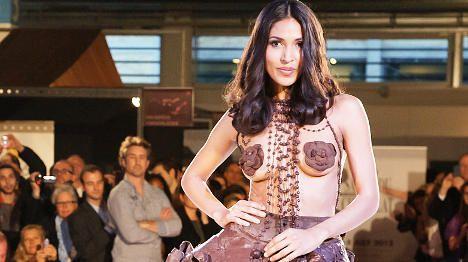 Models don choc frocks for tasty Zurich fashion show