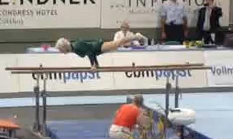 Geriatric German gymnast wows audience