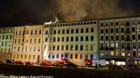 Huge fire rages in central Gothenburg