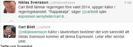 Tweeting Bildt to journo: 'Look for a proper job'