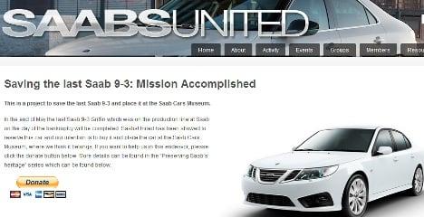 Saab fans buy last car off the production line