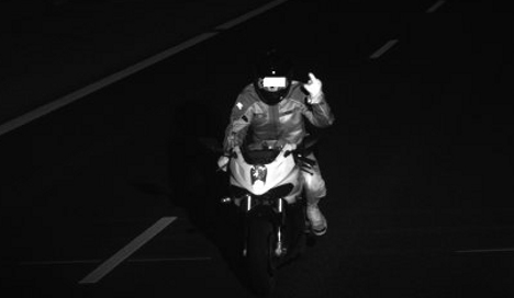 Rude biker gave speed cameras the finger
