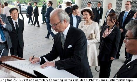 Swedish king pledges support for Korean peace