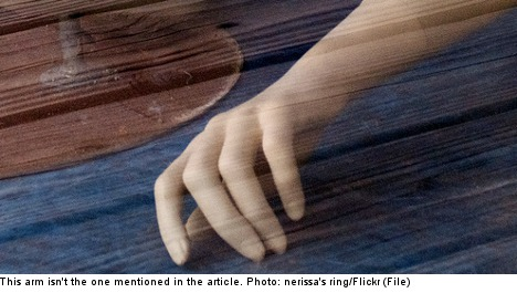 Police 'break-in' solves dangling hand mystery