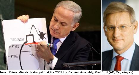 Israeli PM's Iran bomb cartoon 'confusing': Bildt