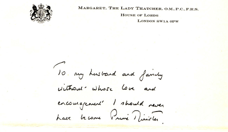 Thatcher letter thanking family surfaces