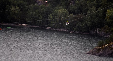 Two men trapped in basket over fjord