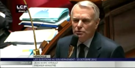 Right-wing MPs walk out over Ayrault jibe