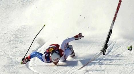 Swiss skier Albrecht crashes in Lake Louise