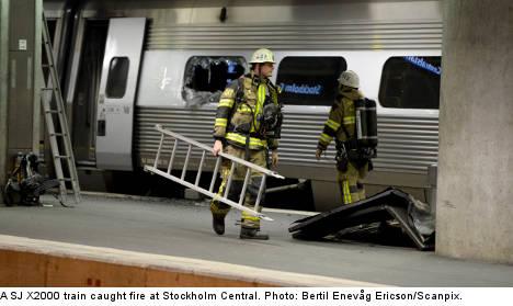 Fire halts train traffic at Stockholm Central