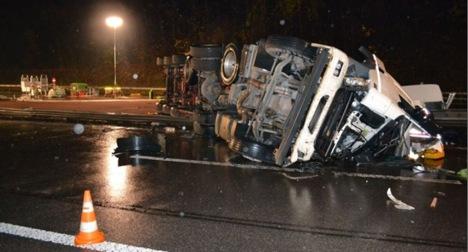Olive oil truck spills slick load on Basel highway