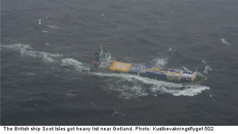 British ship in distress near Gotland
