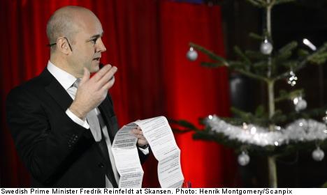 Reinfeldt talks schools in annual Christmas speech