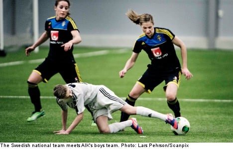Swedish football ladies beaten by teen boys