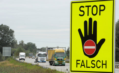 Signs warn drivers of wrong direction