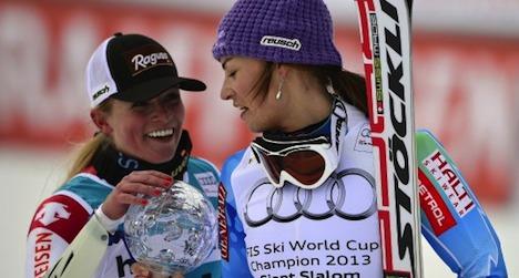 Gut manages podium finish minus ski pole