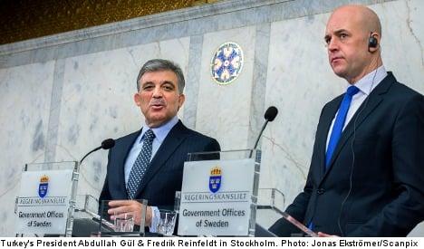 Reinfeldt presses Turkey to reform terror laws