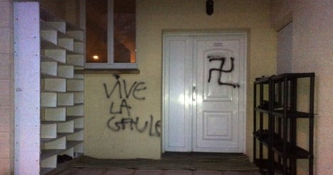 Nazi graffiti and pig's head left at mosque site