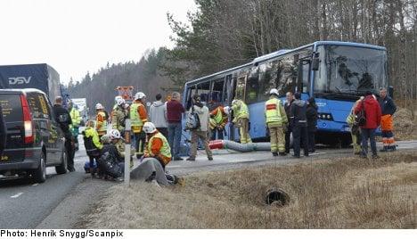 Swedish teens injured in school bus crash