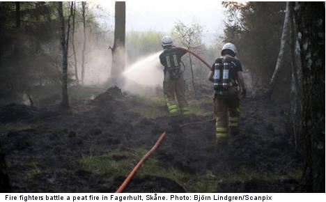 Vast peat fire in Skåne may burn for weeks