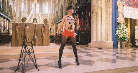 Femen mocks writer's suicide at Notre Dame