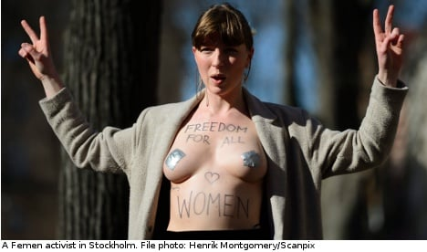 Topless Femen activists target Swedish mosque