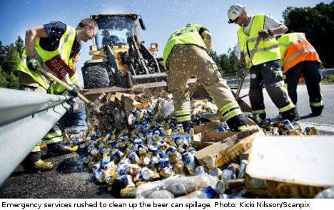 Spillage leaves Swedish motorway soaked in beer