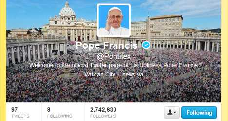 Pope named most influential Twitter leader