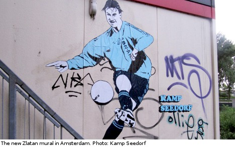 Graffiti daycare tribute for Ajax hero Zlatan