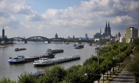 Grounded ships close the river Rhine
