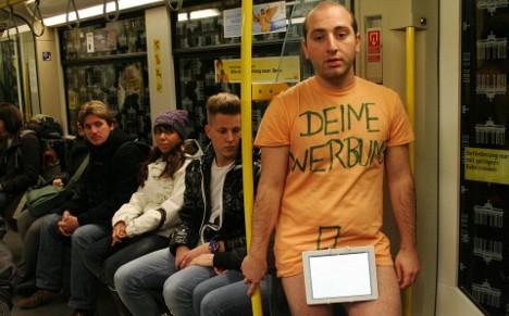 Naked in the train: artist shocks Europe