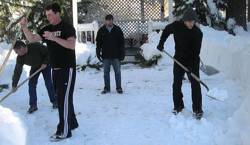 Jobless to shovel snow and chop wood