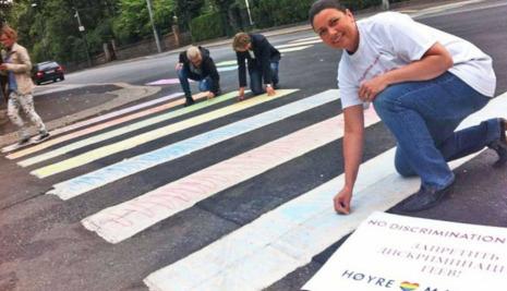 Conservatives chalk rainbow outside embassy