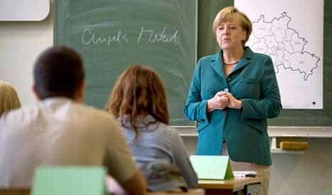 Substitute teacher Merkel leads history class