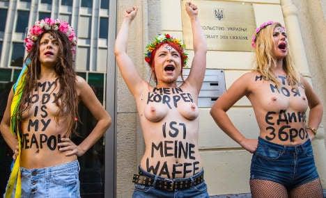 Topless Berlin feminists protest Ukraine raids