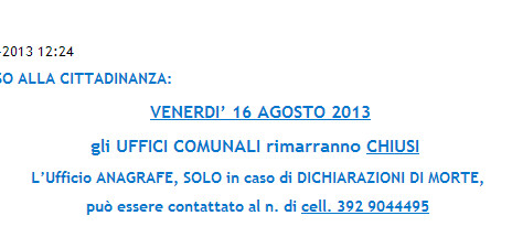 Italian council closed: call only in case of death