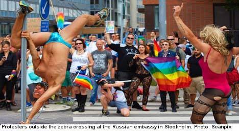Rainbow zebra protest at Russian embassy