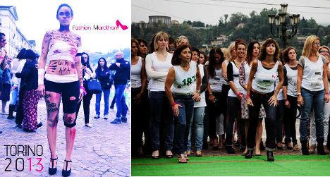 Italian men join femicide protest in high heels