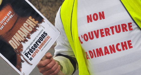 French workers protest Sunday shopping ban