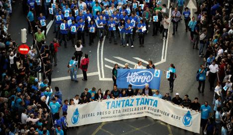 Mass protest in Spain ETA group crackdown