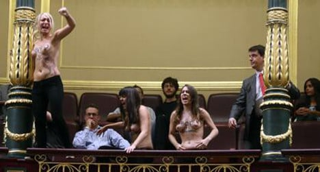 Topless protesters shake up Spain's Parliament