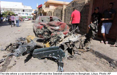 Car bomb blasts Swedish consulate in Libya
