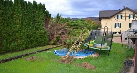 Building crane falls onto kids' garden trampoline